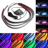 4pcs Impermeable RGB Coche LED luces de la decoración tira Underglow Neon Lámpara Kit 12V con Control remoto