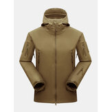 Mens Waterproof Multi-Zipper Pocket Thick Turtleneck Hooded Outdoor Sport Coats