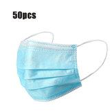 50Pcs Mascarillas desechables de boca Mascarilla de respiración de 3 capas Protección personal a prueba de polvo