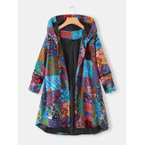 Plus Size Women Ethnic Style Printed Button Up Hooded Coats With Pocket