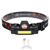 XANES® 1200LM Q5 + COB Stufenloses Dimmen LED Scheinwerfer Satz mit 18650 Batterie USB-Kabel, Mini-USB-Hochleistungs-Magnet-Taschenlampe für Hochleistungscamping Radfahren Laufen Suchen Suchscheinwerfer