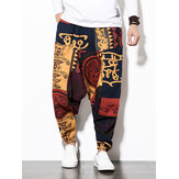 Mens Cotton Linen Vintage Harem Pants Hip Hop Wide Leg Pants