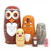 6Stks/setNestingDolls Houten Matryoshka Russische Poppen Handgeschilderde Baby Speelgoed Woondecoraties