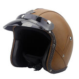 DOT 3/4 Gezicht Vintage Lederen Motorhelm Motorbike Scooter Crash Vizier ML XL