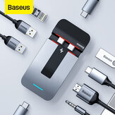 Baseus 9 em 1 adaptador de estação de acoplamento de hub USB-C Suporte para laptop com 3 * USB 3.0 / 2 * Thunderbolt 3 5K HD Display / 100W Type-C PD / HDMI 4K @ 30 HZ HD Display / RJ45 Port / 3,5mm Audio Jack