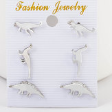 Leuke Dinosaur Stud Earring Silver Gold Animal Ear Stud