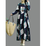Floral Print Long Sleeve O-neck Vintage Mid-long Dress