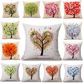 45x45cm boom decoratieve en homing seizoen leven katoen linnen heldere kleurrijke kussensloop
