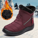 Women's Round Toe Zipper Soft Warm Waterproof Non-Slip Snow Boots