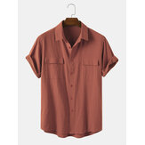Men 100% Cotton Solid Color Double Pocket Casual Shirts