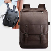 Vintage Faux Leather Anti-Theft Backpack Business Bolsa Para Homens