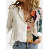 Dames Figuurprint Reverskraag Button Up Vintage Shirts met lange mouwen
