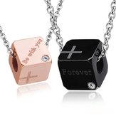 1Pcs Collier Couple Amant En Acier Inoxydable Pendentif Cubique Doux Bijoux Cadeau