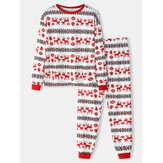 Mens Allover Elk Print Christmas Cotton O-Neck Two-Piece Jogger Pants Home Pajamas Set
