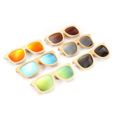 AZB Handmade Unisex Polarized Sunglasses Bamboo Wood Frame Fishing Temple Square Glasses