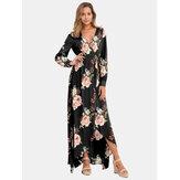Langarm Maxi Kleid mit Blumendruck und V-Ausschnitt und Blumendruck