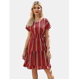 Summer Stripe O-neck Drawstring Waist Casual Mini Dress