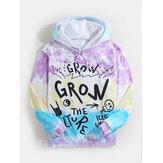 Mens Graffiti Ltter Print Tie Dye Long Sleeve Hoodies With Kangaroo Pocket
