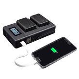 Banco do poder do telefone móvel recarregável do carregador de Palo FW50-C USB Bateria para a câmera de Sony NP-FW50 DSLR Bateria com indicador LED