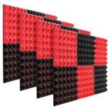 6 pezzi cunei in schiuma fonoassorbente da studio in schiuma acustica nero + rosso 12 x 12 x 2 pollici