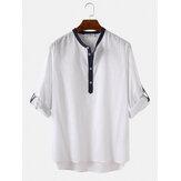 Mens 100% algodão gola manga três quartos camisas casuais Henley