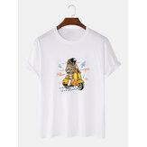 かわいい宇宙飛行士プリント通気性半袖綿100%Tシャツ
