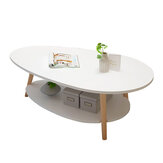 Double Layers Coffee Table Modern Laptop Desk Living Room Round Table Writing Study Table Storage Rack Shelf