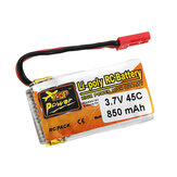 ZOP Power 3.7V 850mAh 1S 45C Lipo Batterie JST Stecker