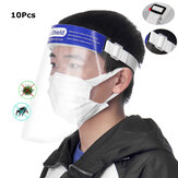 ZANLURE 10Pcs Transparent Adjustable Full Face Shield Plastic Anti-fog Anti-spit Protective Mask