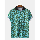 Men Casual Holiday Banana Leaf Print Golf Shirt