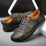 Men Hand Stitching Leather Soft Sole Non Slip Casual Shoes