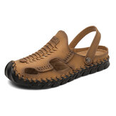 Men Outdoor Microfiber Leather Woven Non Slip Hand Stitching Water Sandals