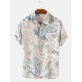 Mens Casual Tie Dye Turn Down Collar Shirts