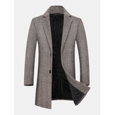 Mens Houndstooth Woolen Single-Breasted Lapel Mid-Length Overcoat