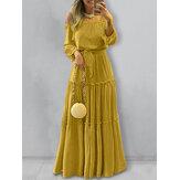 فستان ماكسي نسائي مكشوف الأكتاف بأكمام منتفخة مطوي أنيق سادة اللون