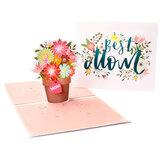 Cartes de fête des mères 3D Meilleure maman Panier de fleurs Papier Invitation Cartes de voeux Anniversaire Carte d'anniversaire Cadeaux pour maman maman