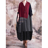 Women Plaid Stripe Patchwork V-Neck Half Button Front Vintage Maxi Dresses