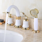 4PCS Bathroom Faucet 2 Handles Widespread Bathroom Basin Water Mixer Brass Tap With Showerhead