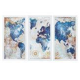 Mapa-múndi de 3 unidades Fotos de parede modernas Pintura suspensa em tela Casa Decoração de sala de estar Sem moldura / emoldurada