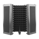 331x1060mm 5 Panels Foldable Studio Microphone Isolation Shield Acoustic Foam Sound Absorbing for Studio Recording Live Broadcast