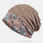 Printed Lace Stitching Beanie Scarf Hat Dual-use Turban Cap