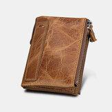 Uomini Vera Pelle RFID Portafoglio porta carte di credito con cerniera multi-slot antifurto a grande capacità