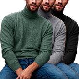 Herren Langarm Rollkragenpullover Lässig Bequeme Pullover Herbst Winter Warme Strickkleidung