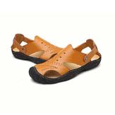 Hombres Summer Hollow Out Business Cuero Vacuno Soft Zapatos planos transpirables casuales Sandalias