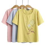 T-shirt décontracté pour femmes en coton d'été respirant T-shirt ample hauts courts en plein air randonnée voyage