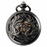 Deffrun Phoenix and Dragon Mechanical Pocket Watch