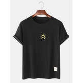 Cotton Simple Sun Print Breathable Short Sleeve T-Shirts
