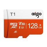 Aigo T1 haute vitesse 128 Go classe 10 carte mémoire SD / TF Flash lecteur avec adaptateur de carte pour Smartphone tablette commutateur haut-parleur Drone voiture DVR GPS caméra