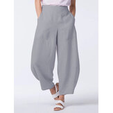 Casual Vintage Solid Color Side Pockets Loose Wide Leg Pants