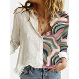 Women Landscape Printed Patchwork Long Sleeve Lapel Casual Button Up Shirt